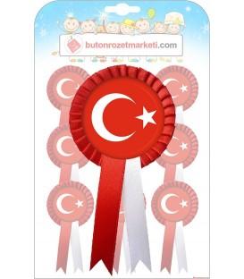 Türk Bayrağı Fiyonklu Rozetler